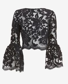 Alexis Bell Sleeve Lace Crop Top: The sleeves begin to bell at the elbow length and widen towards the cuff on this stunning rendition… in 2020 Mode Outfits, Dress Outfits, Fashion Dresses, Blouse Styles, Blouse Designs, Bell Sleeve Top Outfit, Bell Sleeve Shirt, Normcore, Mode Chic