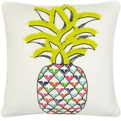 Vue Pineapple Decorative Pillow @hayneedle #pineapple #fringe #decor #colorful