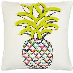 Vue Pineapple Decorative Pillow @hayneedle #pineapple #fringe #decor #colorful