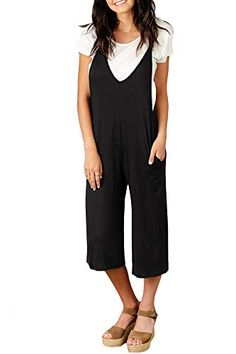 728dc86e03f4 Spadehill Women Sleeveless Loose Jumpsuits Casual Overalls Wide Leg Pocket  Strap Long Pants Rompers Black S