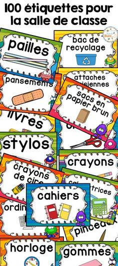 100 étiquettes pour vous aider à organiser votre matériel dans votre salle de classe à la rentrée! 2 formats offerts! Thème de ces étiquettes pour la classe: petits monstres ! Teacher Boards, Teacher Tools, Classroom Posters, School Classroom, Classroom Organisation, Classroom Management, Reggio Emilia, Teaching French Immersion, French Education
