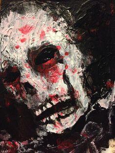 "abstract, zombie, horror art , Acrylic original  ,ACEO  jack larson 3.5""x2.5"""