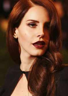 Lana Del Rey makes dark red work with auburn hair by using a red shade of dark lips. Lana Del Ray, Lana Del Rey Lips, Hair Color For Black Hair, Red Hair, Hair Colour, Brown Hair, Dark Lipstick Colors, Burgundy Lipstick, Berry Lipstick