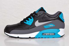 "Nike Air Max 90 Leather ""Black, Grey & Blue"" at www.heikosport.sk"