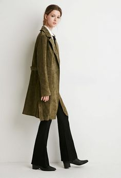 Forever 21 Contemporary Genuine Suede Belted Trench Coat