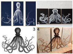 """Two DIY Knockoff Lord Bodner Octopus Triptych Tutorials:  $3,550 Lord Bodner Octopus Triptychhere.  DIY Knockoff tutorial from Revamp Homegoods here. *I like the clipart of the octopus on the black canvas before the hand painting of the image better. I'd try and either print it on tissue paper or vellum, or get a super cheap """"engineer's copy"""" from Staples and then adhere it to the canvases.  The Graphics Fairycliparthere. *Tons of Steampunk and clipart images on this site"""