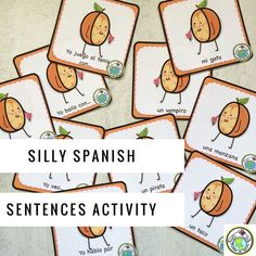 Your middle and high school students will have lots of fun with this media naranja inspired Silly Sentences Activity! Great practice for present tense! Mundo de Pepita, Resources for Teaching Spanish to Children Spanish Lessons For Kids, Spanish Teaching Resources, Spanish Lesson Plans, Spanish Activities, Vocabulary Activities, Spanish Games, Class Activities, Teaching Ideas, Spanish Teacher