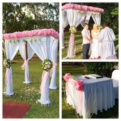 Sunbury House. Barbados, Garden ceremony with pink &  white decor decorated by Sunflower Events
