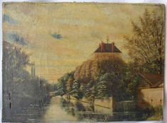 French Antique 19th.C Oil Painting on Canvas Signed Alfred - Burgundy Landscape Country Manor River - French Country Cottage Decor Shabby