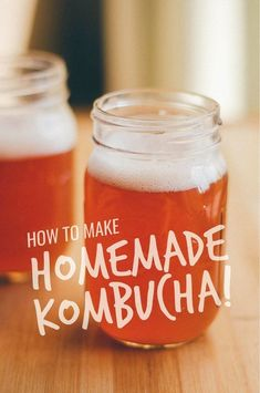 A complete guide on how to make homemade healthy kombucha, all the way from the SCOBY to the fruity fermenting flavors! You just need tea, sugar, and a bottle of store-bought kombucha to get started brewing your own healthy fermented drink! Kombucha How To Make, How To Make Tea, How To Make Homemade, Kombucha Scoby, Kombucha Recipe, Kombucha Bottles, Fermented Tea, Fermented Foods, Probiotic Foods