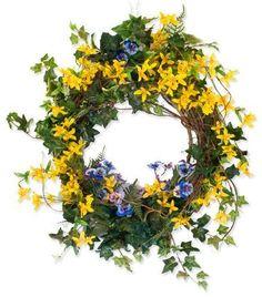 Forsythia , Pansy, Fern & Ivy wreath