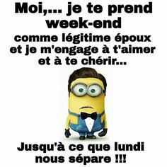 I declare you husband and wife - Je vous declare mari et femme I declare you husband and wife Image Fun, French Quotes, Minions Quotes, Disney Memes, Happy Fun, Funny Moments, Funny Images, The Funny, Funny Jokes