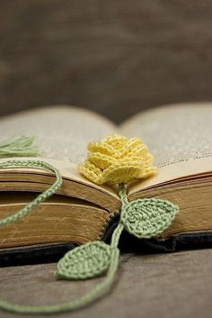 { Crochet } Flower Bookmark Flower Pattern Here Leaf Pattern Here
