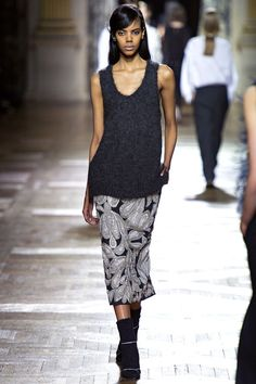 #icouldknitthat Dries Van Noten fall RTW 2013, soft grey tank sweater paired with great print skirt