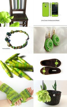 Green themed Etsy treasury featuring a ring I have for sale