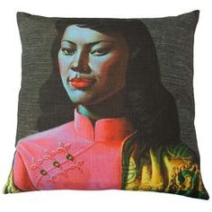 Tretchikoff Cushion (Miss Wong) with feather insert $179 by Safari Fusion www.safarifusion.com.au