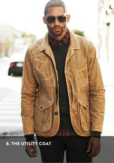 Man wearing a waxed-cotton work jacket.