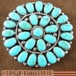 Native American Navajo Indian Sterling Silver Turquoise Pin Pendant at SilverTribe