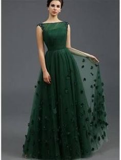 Just Shop for Solid Color Stereo Flower Sleeveless Tulle Elegant Dresses from Jollyhers Online now: All Kinds of Designer Special Occasion Dresses wit. Green Evening Dress, A Line Evening Dress, A Line Prom Dresses, Evening Gowns, Bridesmaid Dresses, Summer Dresses, Green Gown, Homecoming Dresses, Long Evening Dresses