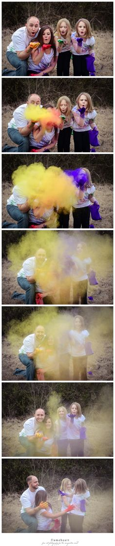 Flameheart Studios family holi powder, color powder engagement session by www.flamehearts.com