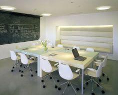 Modern white modular boardroom table
