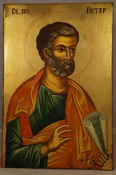 High quality hand-painted Orthodox icon of St Peter the Apostle. BlessedMart offers Religious icons in old Byzantine, Greek, Russian and Catholic style. Religious Images, Religious Icons, Paint Icon, Biblical Art, Catholic Saints, Orthodox Icons, Art Gallery, Hand Painted, Simon Peter
