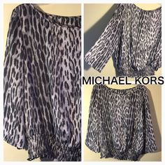 """❤️ Super Cute Michael Kors Leopard Print Blouse❤️ ❤️ Gorgeous Leopard Print Michael Kors Blouse, Excellent condition and Super Cute On.  Missing top tag but has inside tag for care and fabric, also says Michael Kors on it. Shoulder to Hem 23"""", Shoulder to sleeve 18"""", Armpit to Armpit 23"""", Gorgeous Neckline and Synched Bottom❤️❤️ Michael Kors Tops Blouses"""