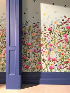 Deya Meadow wallpaper by Matthew Williamson at Osborne & LIttle Flower Wallpaper, Wall Wallpaper, Osborne And Little Wallpaper, Bedroom Decor, Wall Decor, Mural Wall Art, Dark Interiors, Little Girl Rooms, Home Living Room