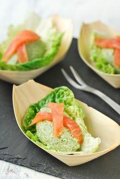 Quenelles de brócoli con salmón ahumado - L'Exquisit