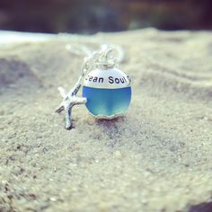 May you always take a little PEACE of the BEACH home with you  sterling and sea glass personalized necklace by shopshinelife.com