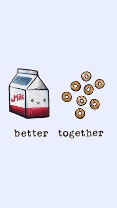 Better Together - Laura Uy Illustrations Cute Food Drawings, Kawaii Drawings, Food Wallpaper, Kawaii Wallpaper, Wallpaper Gallery, Cute Wallpaper Backgrounds, Iphone Wallpaper, Best Friend Wallpaper, Cute Puns