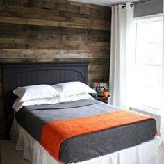 Orange and grey bed