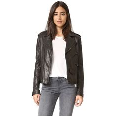 June Vintage Moto Jacket ($685) ❤ liked on Polyvore featuring outerwear, jackets, black, punk jacket, genuine leather biker jacket, leather moto jacket, real leather jackets and vintage motorcycle jacket