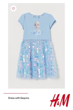 Dress in jersey with a printed motif at front. Zip at back short puff sleeves and seam at waist with glittery elastic and narrow ruffle trim. Lined skirt in double layers of tulle with sequins on outer layer. Disney Dresses, Disney Outfits, Girl Outfits, Girls Dresses, Spring Outfits, Frozen Outfits, Baby Born Clothes, Frozen Kids, Little Girl Toys