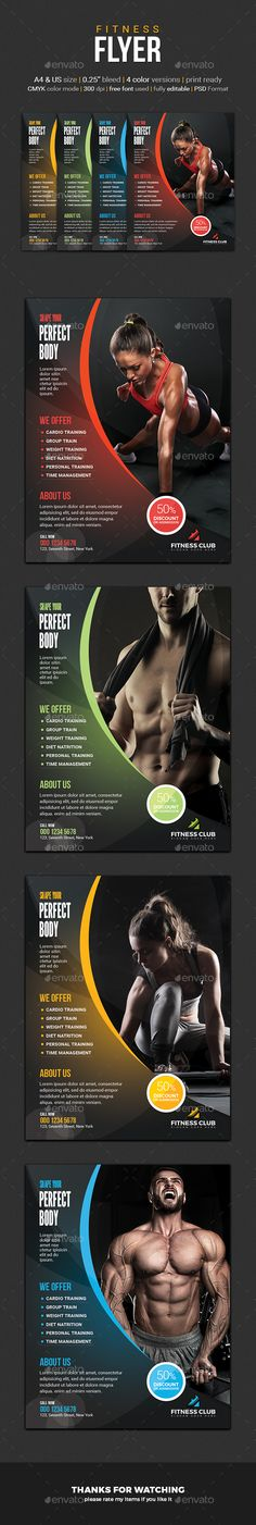 Fitness Flyers Bundle Flyer template, Brochures and Layout design - fitness flyer template
