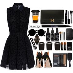 Black Dress by emcf3548 on Polyvore featuring polyvore fashion style Victoria, Victoria Beckham RED Valentino Hermès Timex ASOS NARS Cosmetics Urban Decay Kahina Giving Beauty Denman Butter London Linea Chanel Duracell happyholidays HolidayParty hookedonstyle