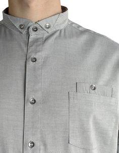 Grey button-up shirt, detail. Indian Men Fashion, Mens Fashion Wear, Men's Fashion, Gents Kurta Design, Boys Kurta Design, Mens Designer Shirts, Designer Clothes For Men, Gents Shirts, Boys Shirts