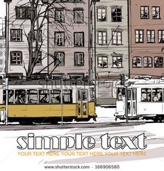Vector illustration with buildings and old tram. - stock vector