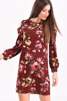 23230df74250 Φόρεμα μακρυμάνικο κοντό φλοράλ σε μπορντό αποχρώσεις