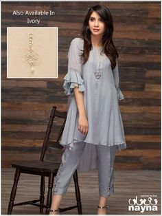 Buy Gray Color Dhoti Dress by Akanksha Singh at Fresh Look Fashion Kurti Sleeves Design, Sleeves Designs For Dresses, Pakistani Dresses Casual, Pakistani Dress Design, Kurta Designs Women, Blouse Designs, Look Fashion, Fashion Outfits, Indian Designer Suits