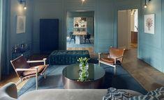 Sandellsandberg Architects' daring makeover of an century Stockholm home New Interior Design, Contemporary Interior, Nordic Design, Scandinavian Design, Stockholm Apartment, Blue Rooms, Built Environment, Entertainment Room, Other Rooms