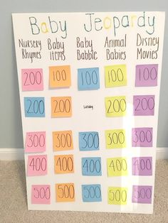 Baby Jeopardy! Make baby shower's fun with new games!