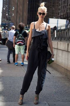 Create an overall-like style with a combination of a harlem pants and a tank.