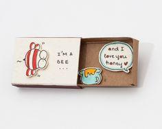 "Bee Valentine Card/ Funny Cute Love Card/ Anniversary Card/ Matchbox /Gift box / Message box ""I'm a Bee"" - ""And I love you Honey"" Funny Love Cards, Cute Cards, Diy Cards, Matchbox Crafts, Matchbox Art, Cute Gifts, Diy Gifts, Cadeau Client, I Love You Honey"