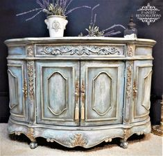 Persian blue french inspired cabinet thrift store media cabinet makeover white chalk paint with tilted soil dry bru Diy Furniture Couch, Hand Painted Furniture, French Furniture, Refurbished Furniture, Paint Furniture, Shabby Chic Furniture, Furniture Makeover, Vintage Furniture, Furniture Design