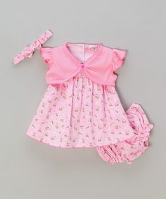 Look what I found on #zulily! Pink Floral Dress + Bloomers + Headband + Bolero by Sweet Elegance #zulilyfinds