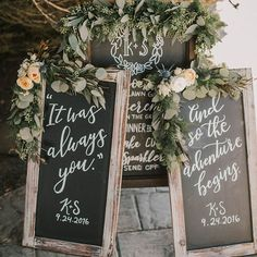 How darling are these calligraphy signs? We love the greenery on top, too! See more from this bohemian-inspired wedding in a California greenhouse #onGWS {link in bio!} ✨ photog: @karraleighphoto | florals: @mackfloraldesign | calligraphy: @lettersanddust | design: @kristenkellysdesigns