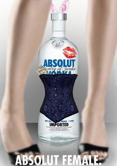 From all fabulous Absolut Vodka ads, designers often take us back to TBWA's 1980 masterpiece, a vodka bottle image with a small halo on top. Absolut Vodka, Creative Advertising, Advertising Design, Tequila, Pop Art, Bottle Images, Alcohol, Great Ads, Woman Standing