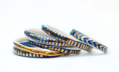 THE DEEP BLUE - Ceramic Bangle - Copper Lustre - Stoneware Clay