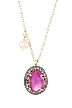 Savvy Cie 6mm Cultured Pearl, Ruby & Diamond Pendant Necklace